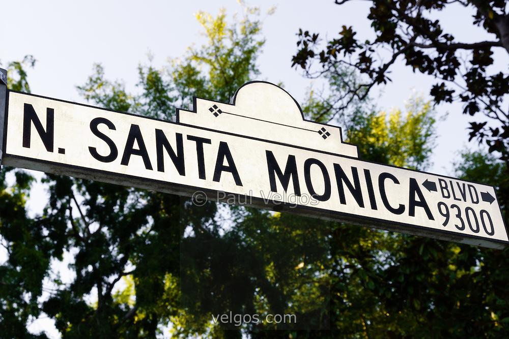 Santa Monica Blvd Street Sign in Beverly Hills