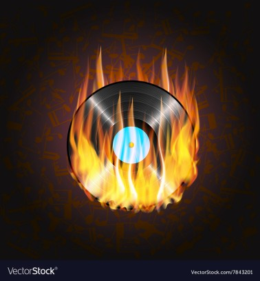vinyl-record-on-fire-a-background-of-musical-vector-7843201